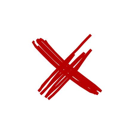 Hand drawn cross. Grunge cross. Vector illustration isolated on white Иллюстрация