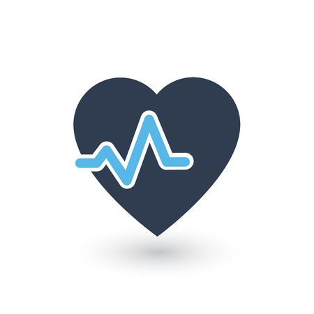 Heartbeat heart beat pulse flat vector icon for medical apps web, reports, presentations. vector illustration isolated on white