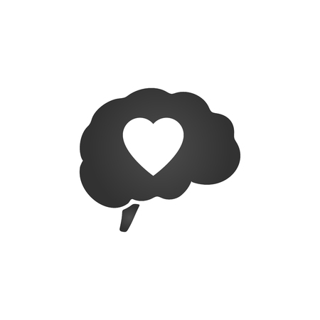 Brain with heart inside. Valentines day, vector illustration isolated on white