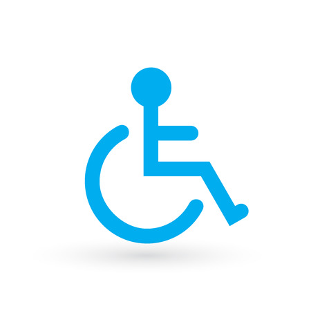 Wheelchair, handicapped or accessibility parking or access sign flat blue vector icon for apps and print. vector illustration isolated on white