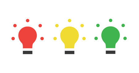 Red yellow green LED, traffic lights, light bulb flat icon, Vector illustration isolated on white .