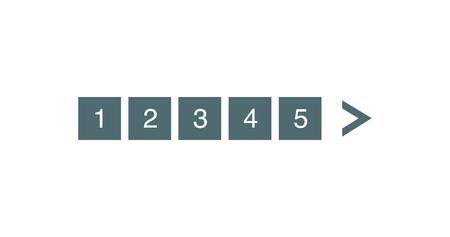 Ensemble de barres de pagination. Pages électroniques pour la numérotation du site Web à indiquer, marques utilisées pour montrer la séquence de la page. Illustration vectorielle isolée sur blanc