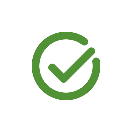 Tick sign element. Green checkmark icon isolated on white . Simple mark graphic design. Vector illustration