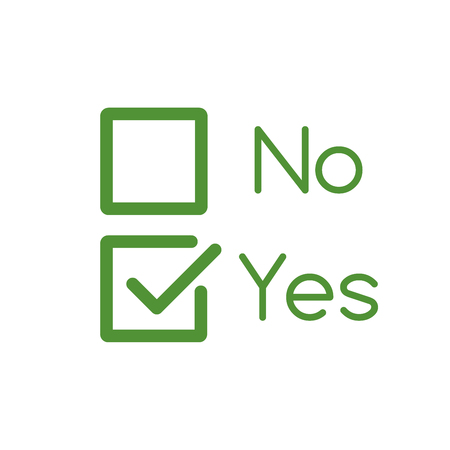 Yes and No Checkbox set with blank and checked checkbox line art vector icon for apps and websites. editable stroke 向量圖像