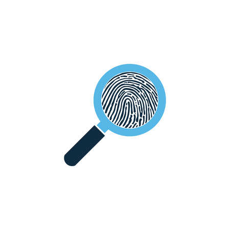 Black fingerprint through magnifying glass vector illustration. Criminalistics research. vector illustration isolated on white
