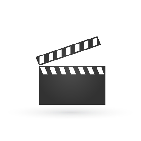 Vector 3d realistic illustration of open movie clapperboard or clapper isolated on background. Black cinema slate board, device used in filmmaking and video production. Vectores