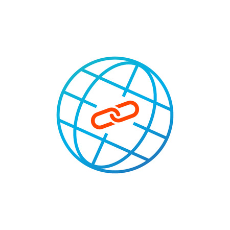 Web Link concept, globe and link icon. Simple blue and orange element illustration. Web Link concept symbol design for SEO. Vector illustration isolated on white
