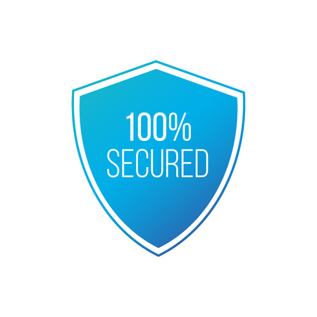 100 Protected guard shield concept. 100 safety badge icon. Privacy guarantee shield banner. Security guarantee label. Defense tag. Vector illustration isolated on white