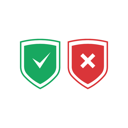 Shields with check mark and cross icons set. Red and green shield with checkmark and x mark. Protection, safety, security, reliability concepts. Vector illustration isolated on background. Ilustração