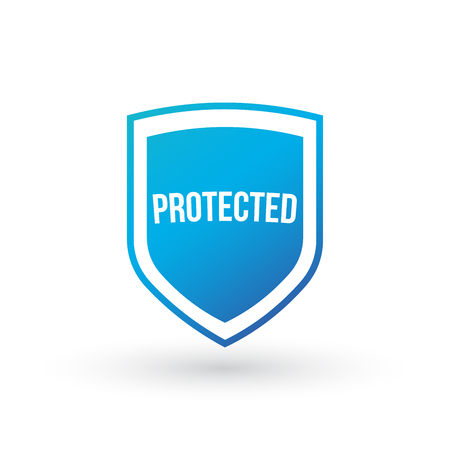 Protection shield concept, protected sign, Vector illustration isolated on white.
