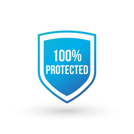 100 Protected guard shield concept. 100 safety badge icon. Privacy guarantee shield banner. Security guarantee label. Defense tag. Vector illustration isolated on white . Ilustração