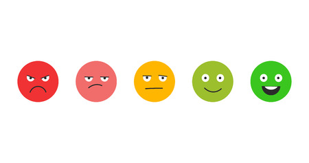 Rating satisfaction. Feedback in form of emotions. Excellent, good, normal, bad awful. Vector illustration isolated on white