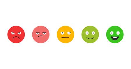 Zufriedenheit bewerten. Feedback in Form von Emotionen. Ausgezeichnet, gut, normal, schlecht schrecklich. Vektor-Illustration isoliert auf weiß