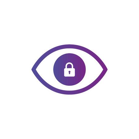 Icona occhio privacy. Icona dell'occhio con il segno del lucchetto. Icona dell'occhio e sicurezza, protezione, simbolo della privacy. Illustrazione vettoriale isolato su bianco