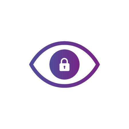 Privacy eye icon. Eye icon with padlock sign. Eye icon and security, protection, privacy symbol. Vector illustration isolated on white