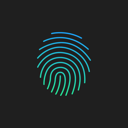Cryptographic signature glyph icon, security and identity, fingerprint sign, Vector illustration isolated on black.