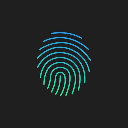 Kryptografisches Signatursymbol, Sicherheit und Identität, Fingerabdruckzeichen, Vektorillustration einzeln auf Schwarz.