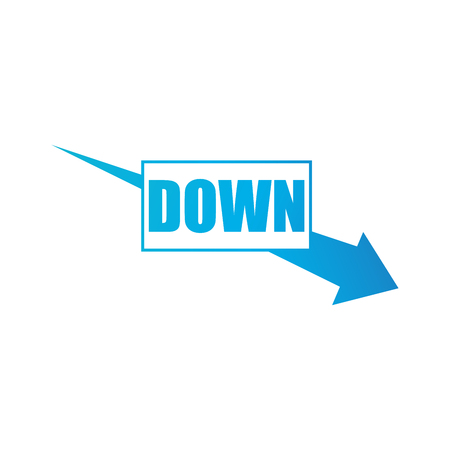 Arrow pointing downwards showing business crisis. Vector illustration isolated on white Illustration