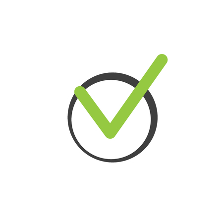 Check list button icon. Check mark in round sign. vector illustration isolated on white