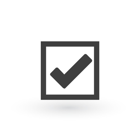 Illustration of check mark icon in square, vector illustration isolated on white