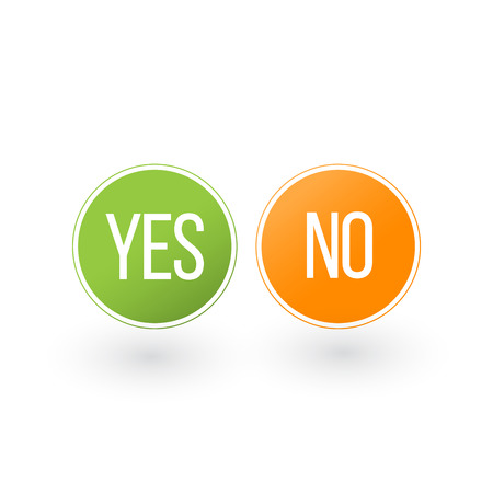 Yes and No Button Icons, vector illustration isolated on white