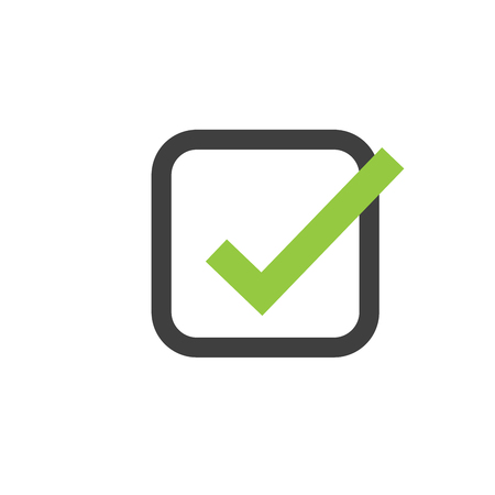 Illustration of check mark icon in square, vector illustration isolated on white .