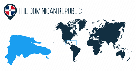 The Dominican Republic map located on a world map with flag and map pointer or pin. Infographic map. Vector illustration isolated on white