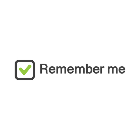 Illustration of check mark icon in square with remember me sign, web authorization vector illustration isolated on white .