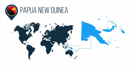 Papua New Guinea map located on a world map with flag and map pointer or pin. Infographic map. Vector illustration isolated on white .