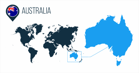 Australia map located on a world map with flag and map pointer or pin. Infographic map. Vector illustration isolated on white .