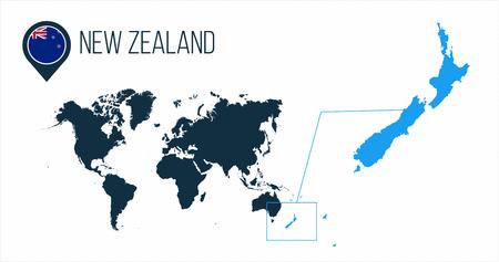 Mapa de Nueva Zelanda ubicado en un mapa del mundo con bandera y puntero de mapa o pin. Mapa de infografía. Ilustración de vector aislado en blanco.