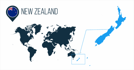 New Zealand map located on a world map with flag and map pointer or pin. Infographic map. Vector illustration isolated on white . 일러스트