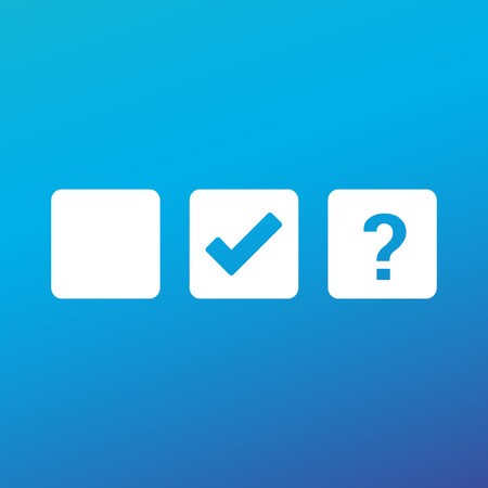 Check box blank, checkmark and Question mark, tick check mark, approval signs design. OK symbol icons in square check boxes. Check list marks, choice options, test, quiz or survey