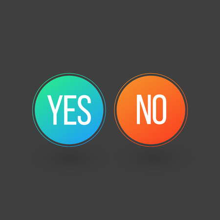 Yes and No Button Icons, vector illustration isolated on grey
