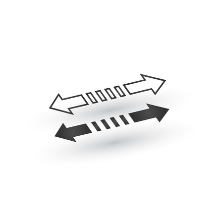 Directional 3d dashed Arrow icon with shadow. Shows shift or direction of movable object. Can be used for manuals. presentations, apps, ui. Vector illustration isolated on white