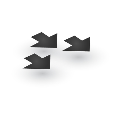 Three Directional wide dashed Arrows icon with shadow. Shows shift or direction of movable object. Can be used for manuals. presentations, apps, ui. Vector illustration isolated on white
