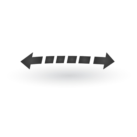 Directional 3d dashed two opposite directions stretch Arrows icon with shadow. Shows shift or direction of movable object. Can be used for manuals. presentations, apps, ui. Vector illustration isolated on white. Stok Fotoğraf - 124748971