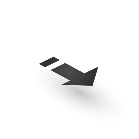 Directional 3d Arrow icon with shadow. Shows direction of movable object. Can be used for manuals. presentations, apps, ui. Vector illustration isolated on white Stok Fotoğraf - 124748973