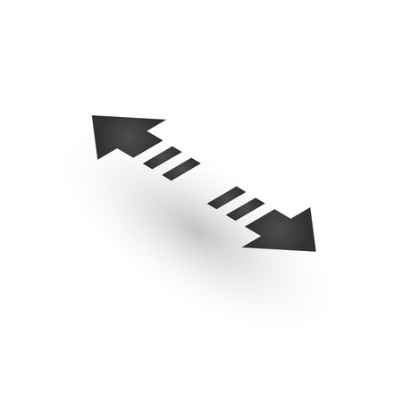 Directional 3d dashed two opposite directions stretch Arrows icon with shadow. Shows shift or direction of movable object. Can be used for manuals. presentations, apps, ui. Vector illustration isolated on white