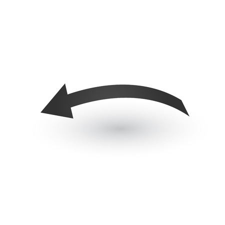 Directional wide back or left Arrow icon with shadow. Shows shift or direction of movable object. Can be used for manuals. presentations, apps, ui. Vector illustration isolated on white Stok Fotoğraf - 124748976