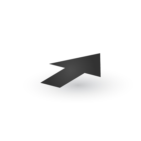 3d Directional wide Arrow icon with shadow. Shows shift or direction of movable object. Can be used for manuals. presentations, apps, ui. Vector illustration isolated on white Stok Fotoğraf - 124748977