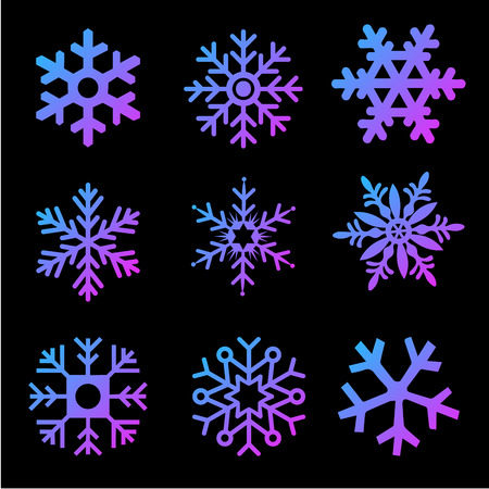 Modern gradient Snowflakes vector set on a black background. Vector pack of snowflakes design templates. Winter decoration elements. Vector illustration isolated on white