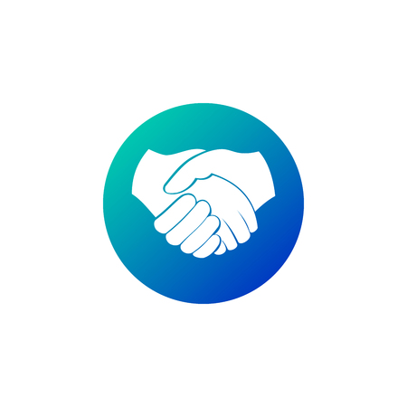 Business handshakein circle icon, contract agreement flat vector icon for apps and websites. Vector illustration isolated on white Imagens - 124651792