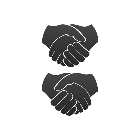 Business handshake left and right version contract agreement flat vector icon for apps and websites. Vector illustration