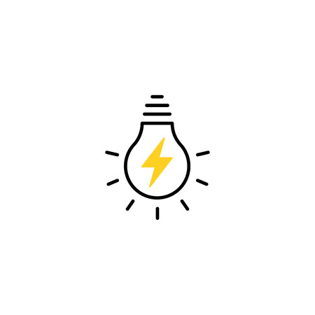 Ampoule ligne icône vecteur, isolé sur fond blanc. Signe d'idée, solution, concept de réflexion. Eclairage Lampe électrique. Vecteurs