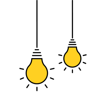 Two hanging light bulbs turned on. Vector illustration isolated Ilustração