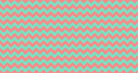 Vector zigzag chevron stipes seamless pattern, living coral turquoise green. Vector illustration. Foto de archivo - 123073992