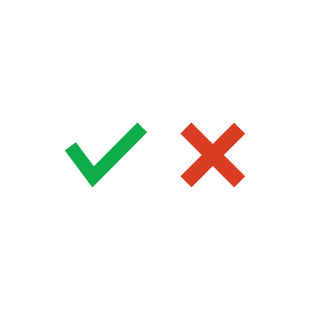 Approved green yes tick an rejected red cross , Vector illustration isolated on white Illustration