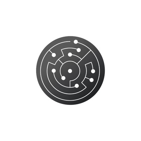 Circuit board icon. abstract circle, shape IT maze. Technology symbol. Computer software concept. Power elements. Flat design.