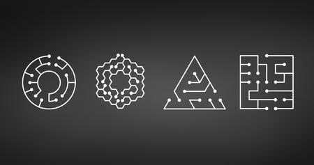 Icono de placa de circuito. formas abstractas de cuadrado, círculo, triángulo, hexágono laberinto de TI. Símbolo de tecnología. Concepto de software de computadora. Elementos de poder. Diseño plano. Ilustración de vector